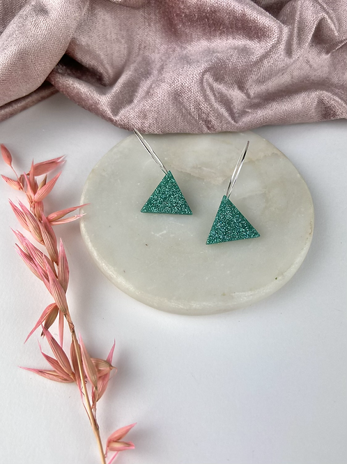 Hand Poured Jade Resin Glitter Triangle Hoops