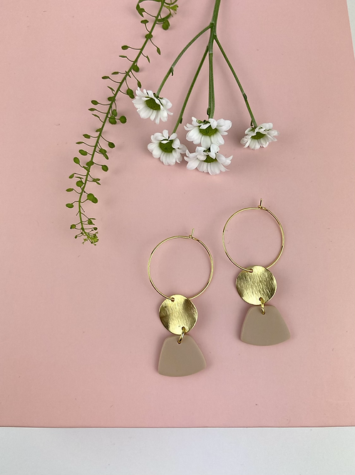 24k Gold Plated Clay Trapezoid Dangle & Drop Hoops