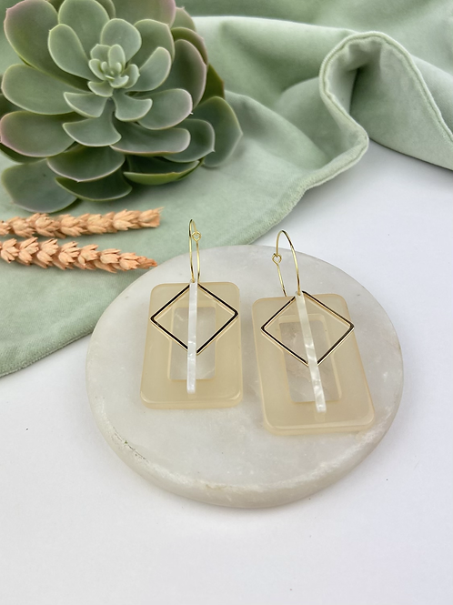 24k Gold Plated Triple Charm Rectangle Hoops