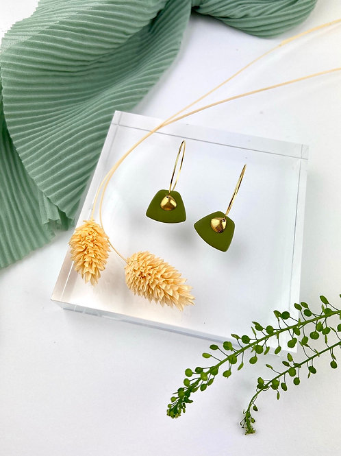 24k Gold Plated Olive Trapezoid Fan Hoops
