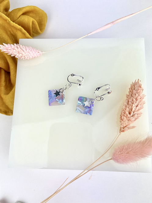 Translucent Blue Star Clip On Earrings