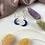 Thumbnail: 24k Gold Plated Indigo Glitter Moon Hoops