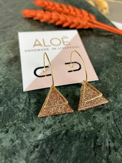 24k Gold Plated Rosegold Glitter Triangle Hoops