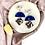 Thumbnail: Clip on Navy Half Moon & Silver Dangle Earrings