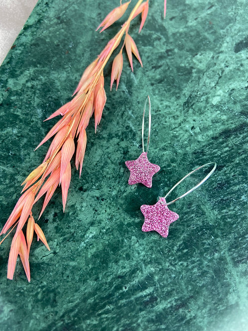 Silver plated Resin Glitter Star Hoops
