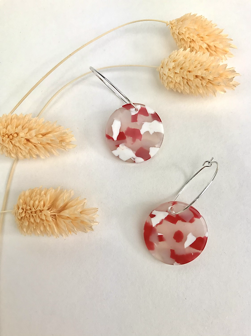 Silver Plated Red Marble Disc Hoops
