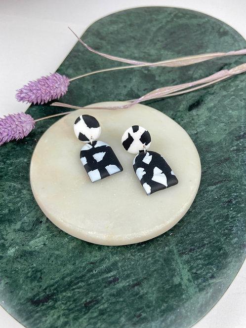 Black & White Sister Terrazzo Clay Dangle & Drop Earrings