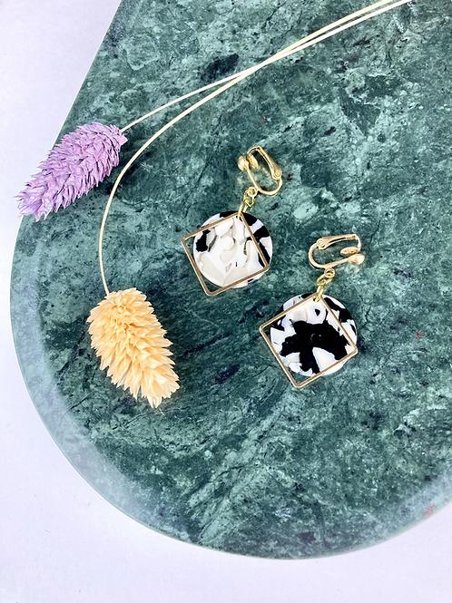 Clip On Marble Mono Disc Earrings