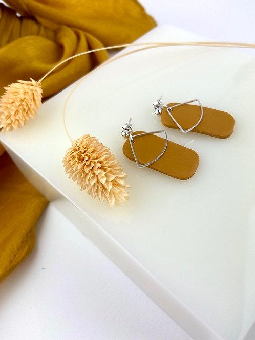 Silver Ochre Clay Oblong Dangle & Drop Earrings
