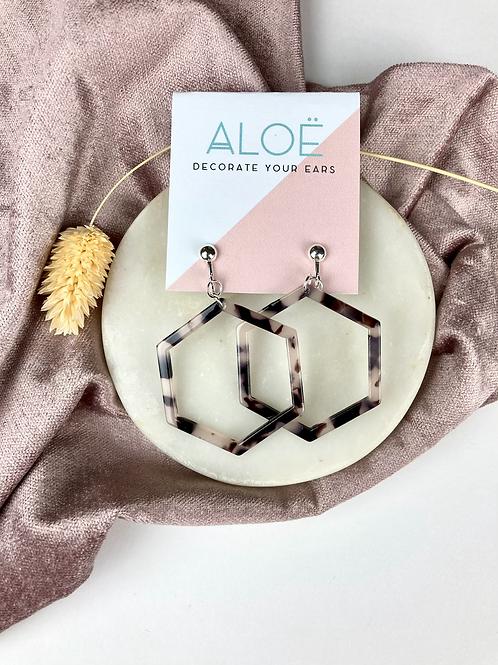 Clip on Blonde Tortoiseshell Hexagon Earrings