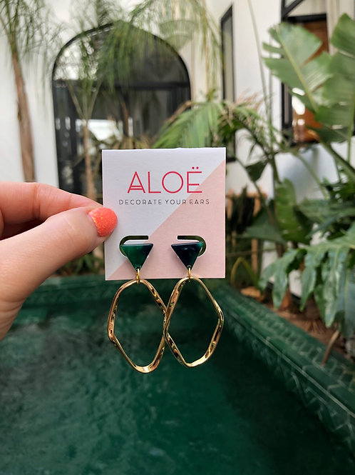 Bottle Green Triangle Gold Hoop Earrings