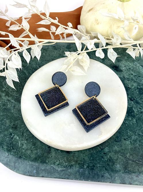 Black Glitter Geo Dangle & Drop Earrings