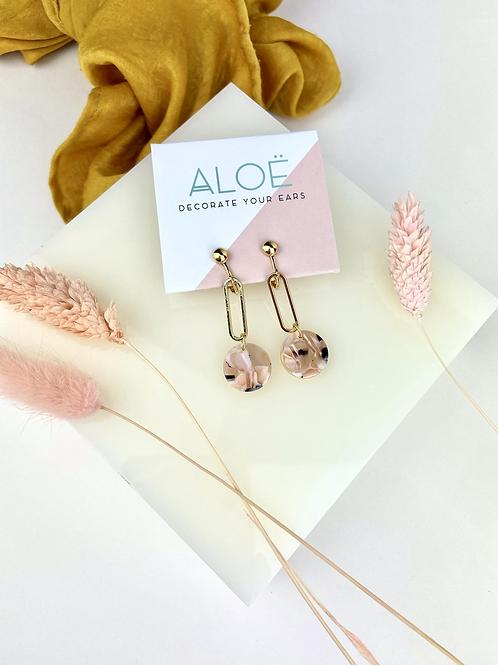 Clip On Marble Pink Disc Drop Earrings