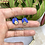 Thumbnail: 24k Gold Plated Blue Clay Coin Hoops