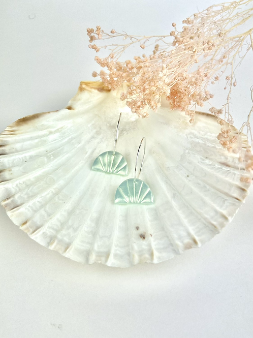 Silver Plated Mint Shimmer Shell Hoops