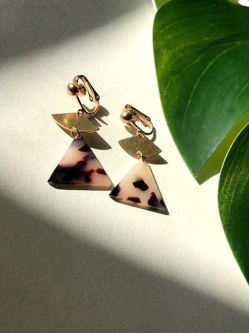 Clip On Tortoiseshell and Brass Fan Earrings