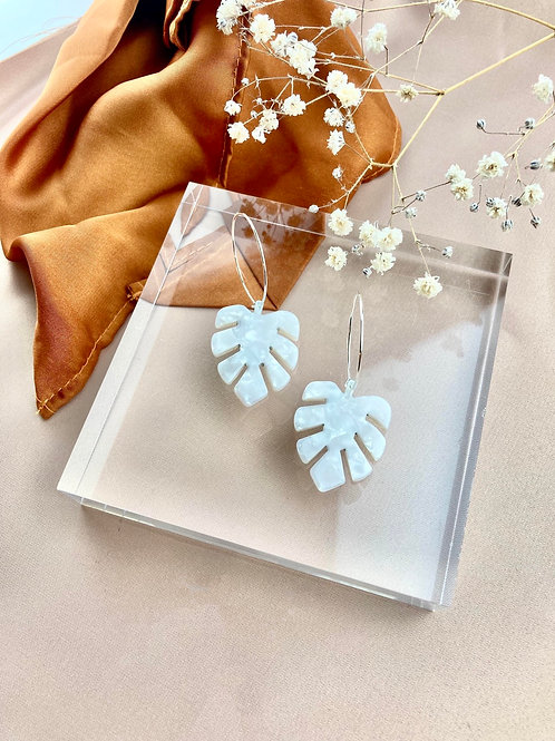 Silver Plated White Monstera Hoops