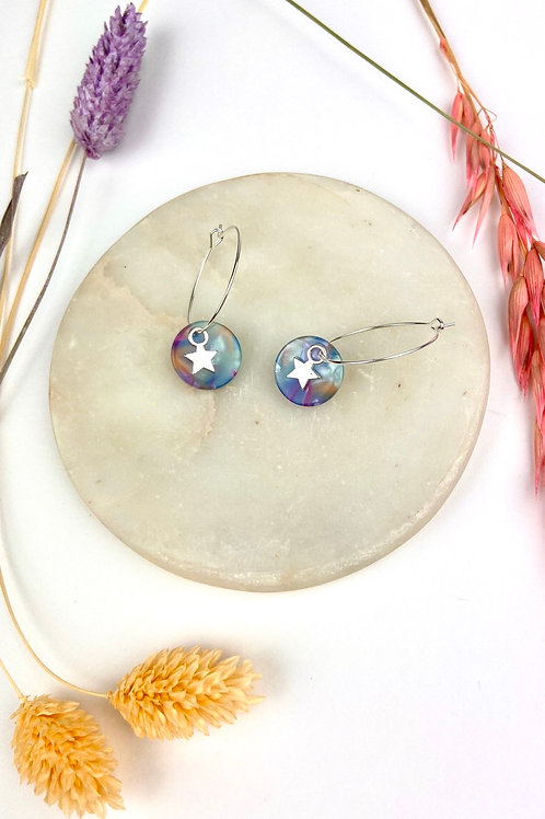 Silver Plated Blue Marble Star Hoops