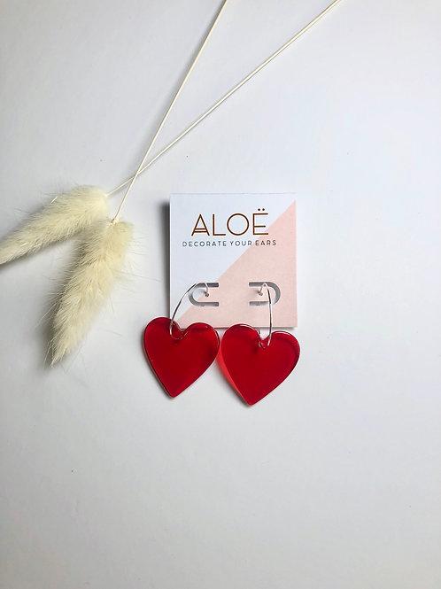 Acrylic Red Heart Hoop Earrings