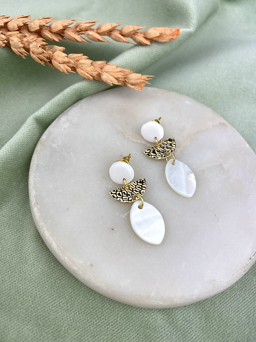 Mother of Pearl & White Clay Brass Dangle Studs