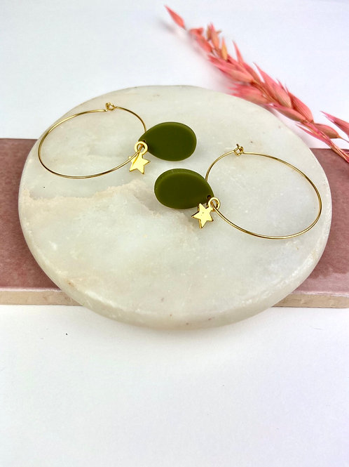 24k Gold Plated Khaki Star Hoops