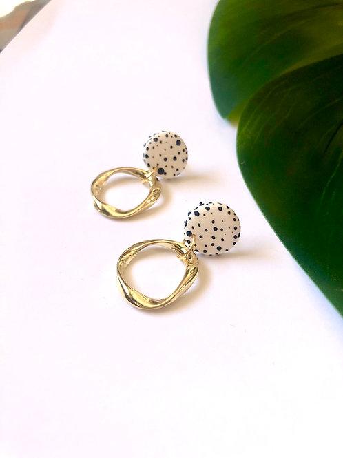 Dalmatian Clay Irregular Mini Hoops