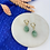 Thumbnail: 24k Gold Plated Huggie Hoops with Sage Marble Drop