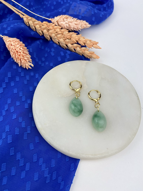 24k Gold Plated Huggie Hoops with Sage Marble Drop