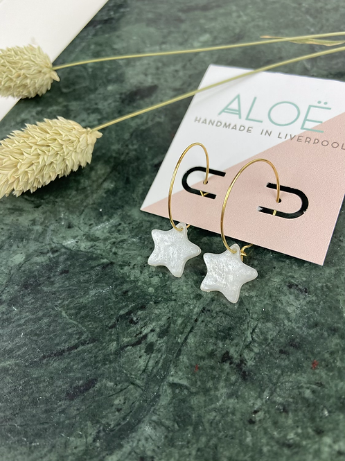 24k Gold Plated White Marble Resin Star Hoops