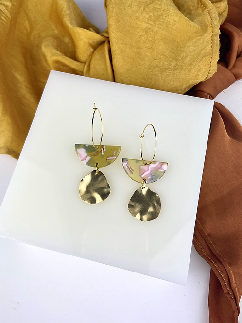 24k Gold Plated Marbled Acetate & Brass Dangle Hoops