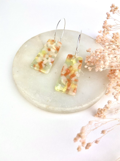 Silver Plated Translucent Trapezoid Hoops