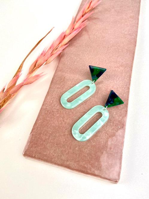 Green & Mint Triangle Dangle & Drop Earrings