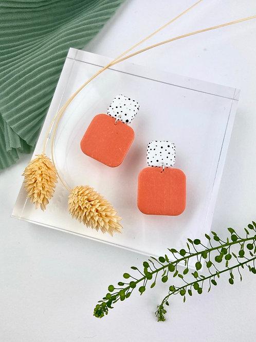 Retro Square Coral Dalmatian Dangle & Drop Earrings