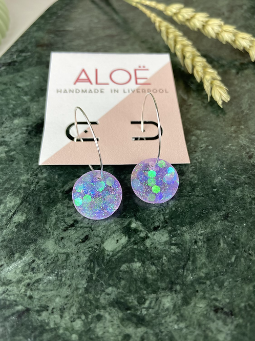 Hand Poured Lilac Iridescent Glitter Disc Hoops