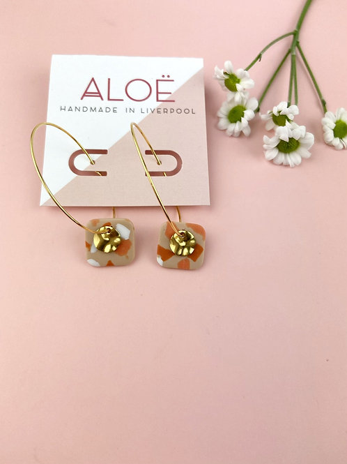 24k Gold Plated Terrazzo Clay Rounded Square Hoops