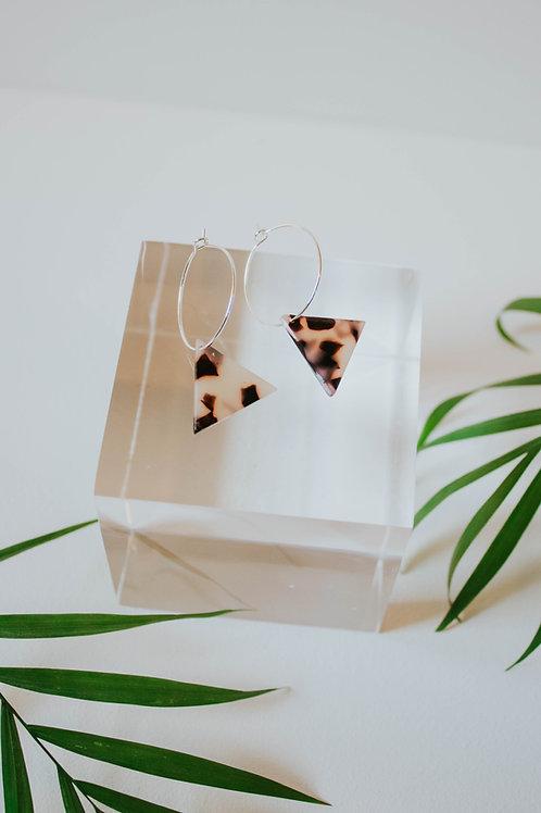 Blonde Tortoiseshell Triangle Hoop Earrings