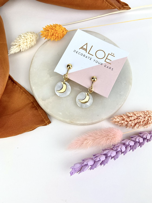 Gold Disc & Moon Clip On Earrings