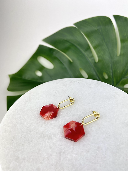 Red Hexagon & Gold Dangle Studs