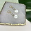 Thumbnail: 24k Gold Plated Mother of Pearl Huggie Hoops