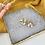Thumbnail: Silver Plated Ochre Marble Heart Hoops