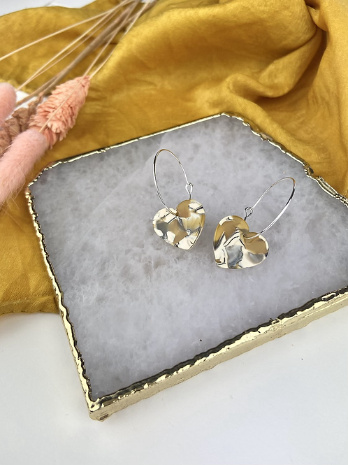 Silver Plated Ochre Marble Heart Hoops