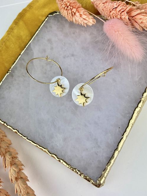 24k Gold Plated Mother of Pearl & Sun Hoops