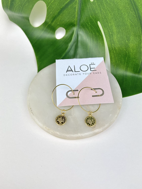 24k Gold Plated Coin Hoops