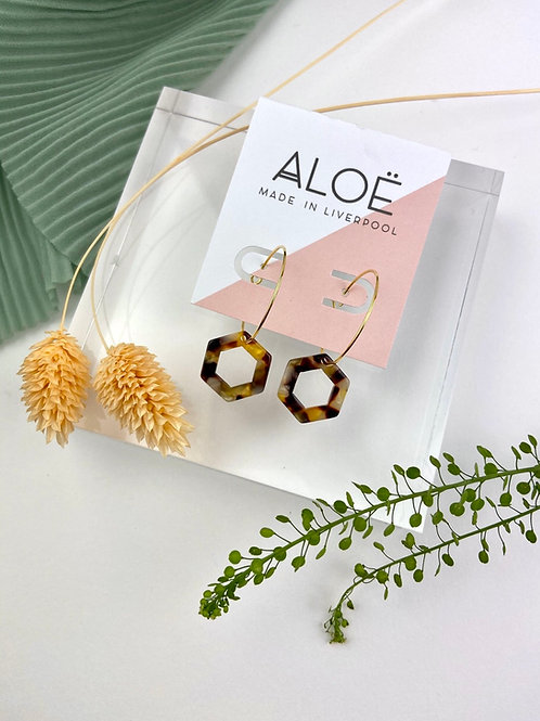 24k Gold Plated Cut Out Tortoiseshell Hex Hoops