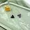Thumbnail: 24k Gold Plated Dark Marble Geo Hoops
