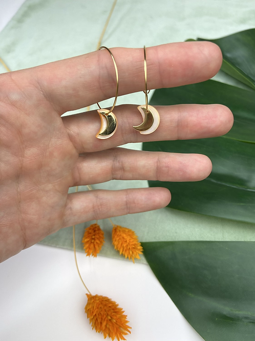 24k Gold Plated Peach Mother of Pearl Moon Hoops