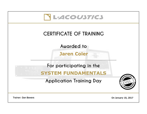 Jaren Coler System Fundamentals Training
