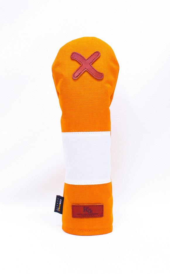 K& HC-Mit COBA ヘッドカバー オレンジ、オフホワイト×fieno 記号X FWサイズ フェアウェイウッド