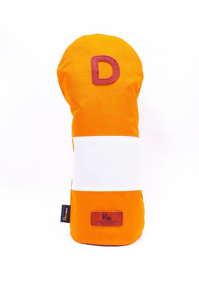 K& HC-Mit COBA ヘッドカバー オレンジ、オフホワイト×fieno 記号D ドライバーサイズ