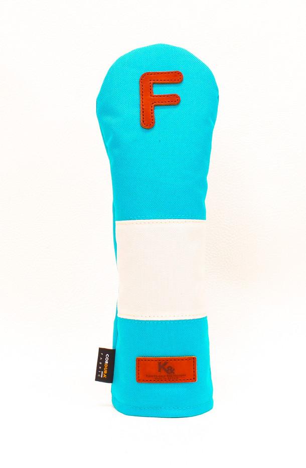 K& HC-Mit COBA ヘッドカバー ターコイズ、オフホワイト×fieno 記号F FWサイズ フェアウェイウッド